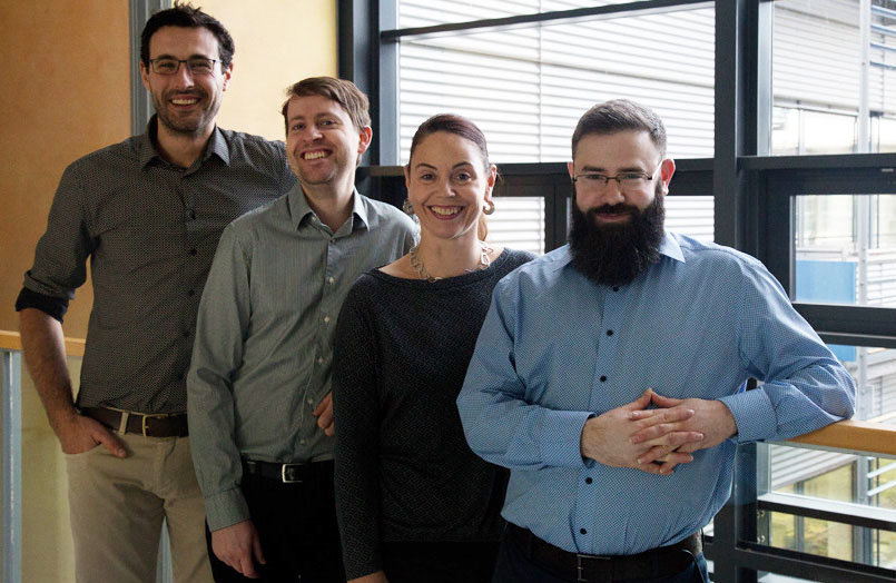 <p>KLAS-Team, from left to right: Rodrigo Perez-Garcia (MPIKG/TU-Berlin), Dr.Tom Robinson (MPIKG), Katja Schulze (MPIKG), Dr. Arren Bar-Even (MPIMP)</p>